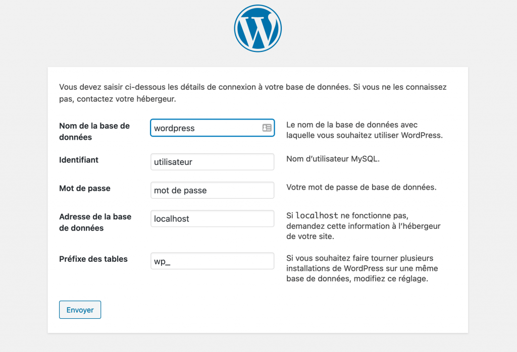 Installation de WordPress - étape 2