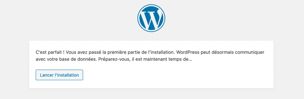 Installation de WordPress - étape 3 - OK