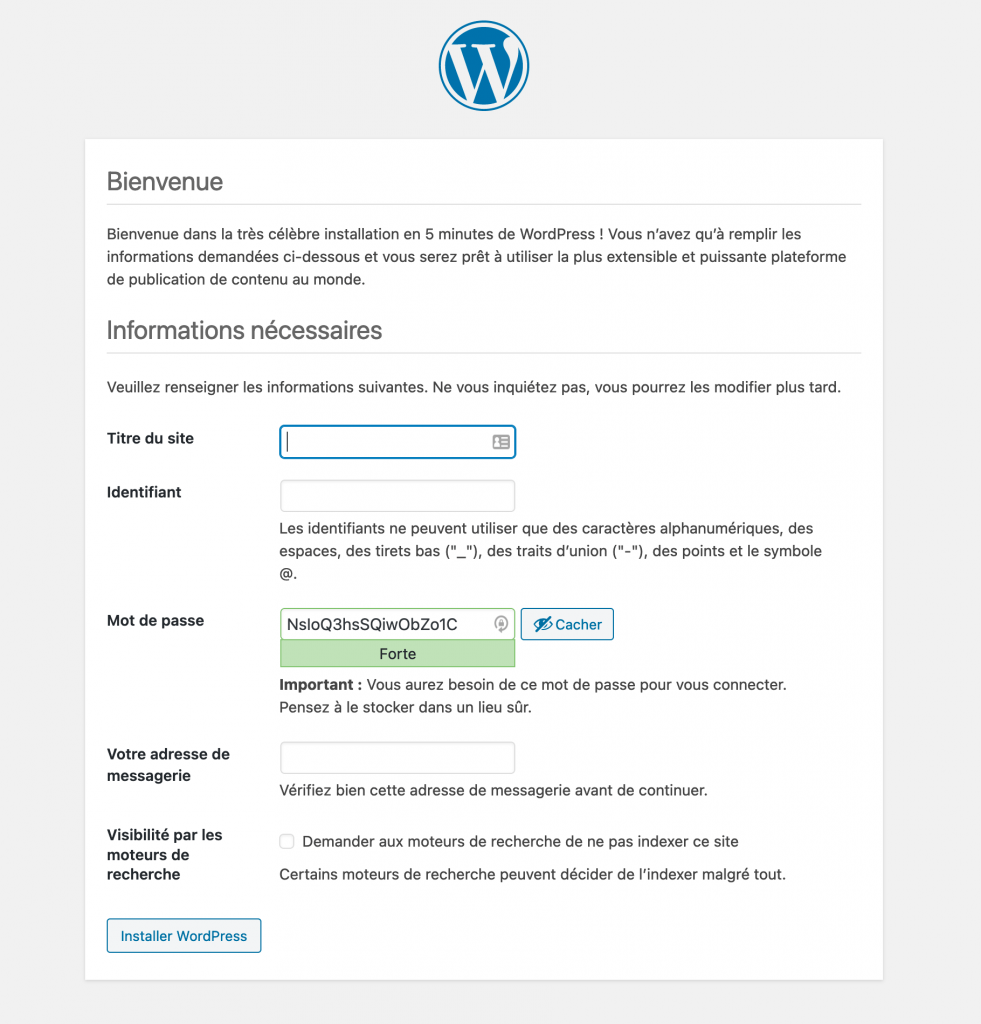 Installation de WordPress - étape 4