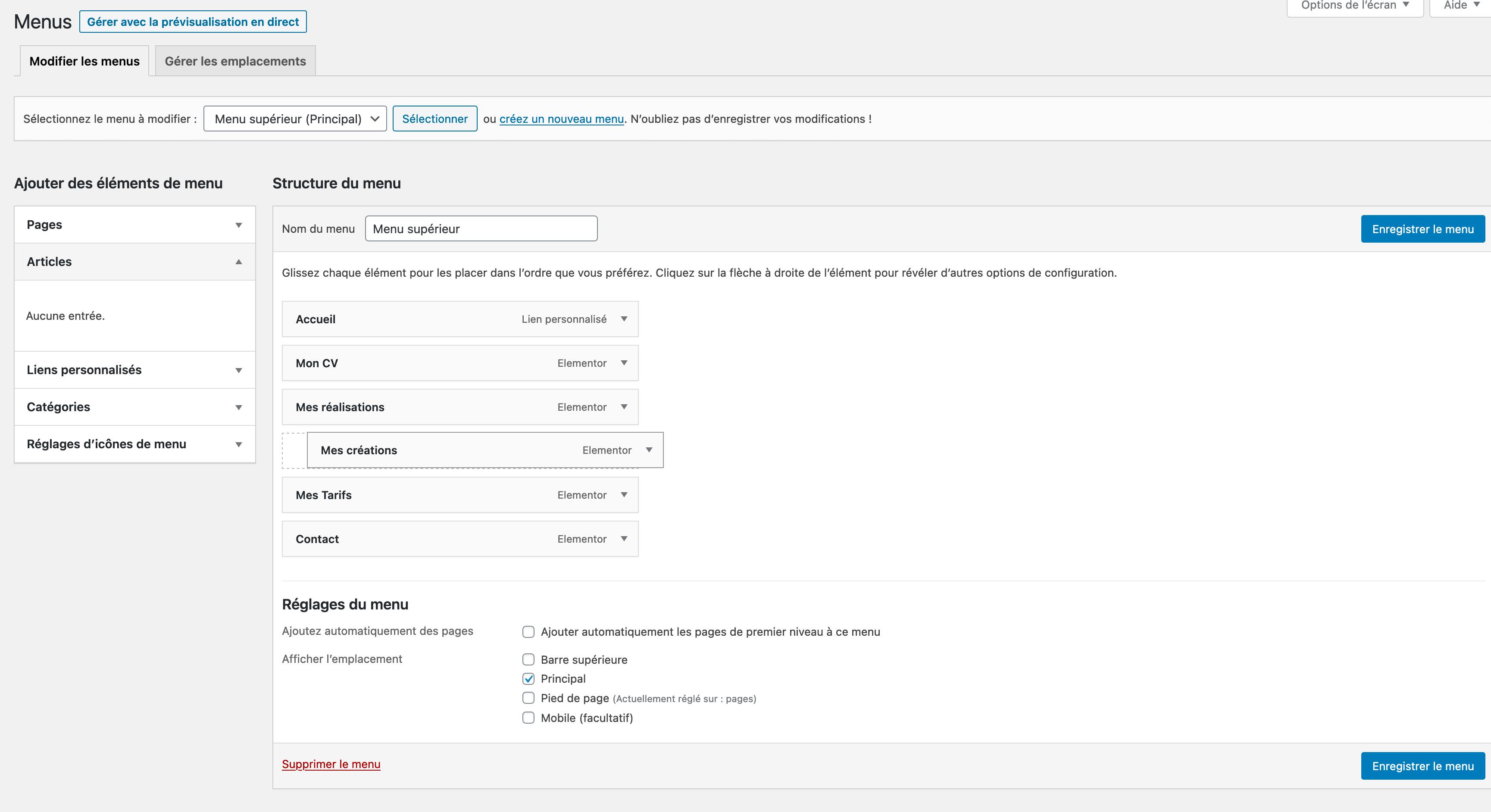 Modification de menu WordPress